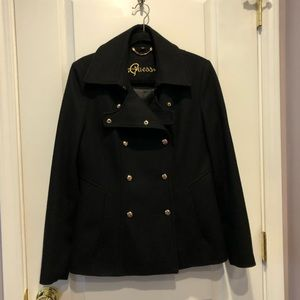 GUESS Snap Wool Blend Junior Peacoat w/ Gold Snaps